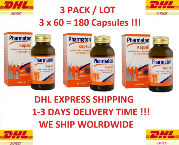 3 Pack Pharmaton with ginseng G115 60 capsules (3 x 60 = 180 Capsules Totally)